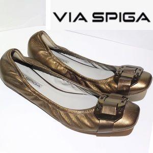 VIA SPIGA bronze buckle design ballet flat
